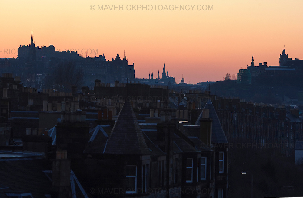 EDINBURGH, UK: Classic view looking over the city of Edinburgh skyline at sunset. (Photograph: MAVERICK PHOTO AGENCY)