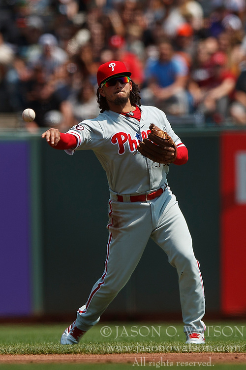 SAN FRANCISCO, CA - AUGUST 20: Freddy Galvis #13 of the Philadelphia Phillies throws to first base against the San Francisco Giants during the first inning at AT&T Park on August 20, 2017 in San Francisco, California. The Philadelphia Phillies defeated the San Francisco Giants 5-2. (Photo by Jason O. Watson/Getty Images) *** Local Caption *** Freddy Galvis