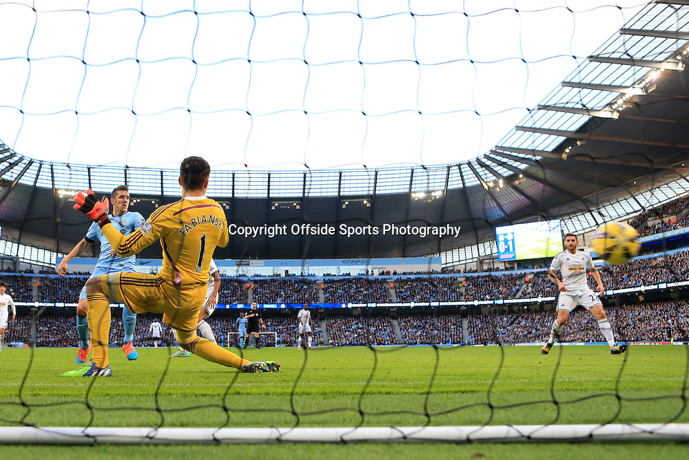 22nd November 2014 - Barclays Premier League - Manchester City v Swansea City - Stevan Jovetic of Man City scores their 1st goal - Photo: Simon Stacpoole / Offside.