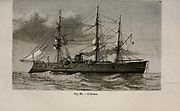 19th century Woodcut print on paper of a ship from L'art Naval by Leon Renard, Published in 1881