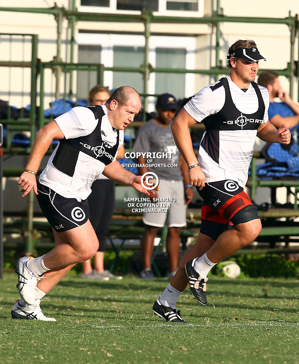 DURBAN, SOUTH AFRICA - MAY 03: Lourens Adriaanse with Etienne Oosthuizen during the Cell C Sharks training session at Growthpoint Kings Park on May 03, 2016 in Durban, South Africa. (Photo by Steve Haag/Gallo Images)