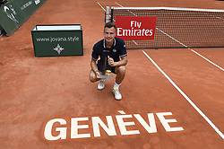 GENEVA, May 27, 2018  Marton Fucsovics of Hungary poses with the trophy during the awarding ceremony after the men's final against Peter Gojowczyk of Germany at the 2018 Geneva Open ATP 250 Tennis tournament in Geneva, Switzerland, on May 26. Marton Fucsovics won 2-0. (Credit Image: © Alain Grosclaude/Xinhua via ZUMA Wire)