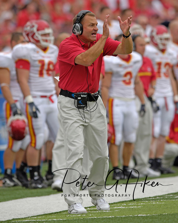 Iowa State head coach Dan McCarney during the first half against Nebraska.  The Huskers defeated Iowa State in double overtime 27-20 at Memorial Stadium in Lincoln, Nebraska, Oct. 1, 2005.