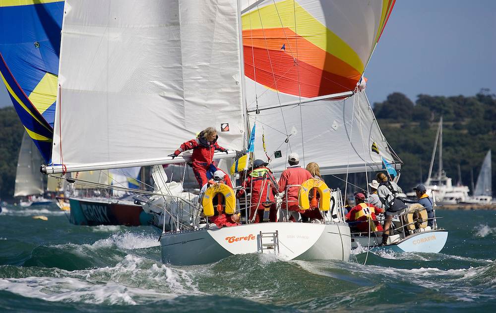 Sigma 33 Cerefe runs for the finish.Day 2 Skandia Cowes Week 2006.( A female crew member went overboard during the race, and was safely recovered.)