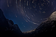 Stars rotating around the South Celestial Pole, above the Hollyford Valley, Fiordland, New Zealand