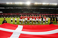 FOOTBALL: The danish team during The National Anthem before the Friendly match between Denmark and Germany at Brøndby Stadion on June 6, 2017 in Brøndby, Denmark. Photo by: Claus Birch / ClausBirch.dk.