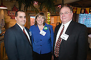 Mahoning County Assistant Prosecutor Marty Desmond, Kelly Johns with Reminger Attorneys and Judge Timothy Franken during the Valley Magazine launch party at the Youngstown Crab Co. on Feb. 21, 2008.
