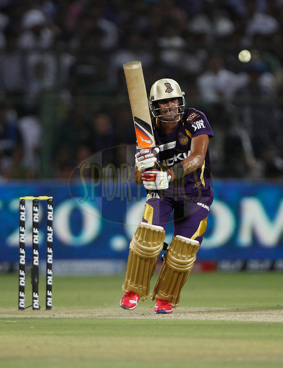 Manoj Tiwary of Kolkata Knight Riders plays a shot during match 7 of the the Indian Premier League ( IPL) 2012  between The Rajasthan Royals and the Kolkata Knight Riders held at the Sawai Mansingh Stadium in Jaipur on the 8th April 2012..Photo by Pankaj Nangia/IPL/SPORTZPICS