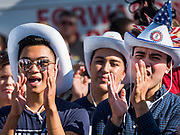 09 AUGUST 2019 - DES MOINES, IOWA: Supporters of Julián Castro applaud after Castro's speech at the Iowa State Fair. Castro, the Secretary of Housing and Urban Developement during the Obama administration, is running for the Democratic nomination for the US Presidency in 2020. He spoke at the Des Moines Register Political Soapbox at the Iowa State Fair Friday. Iowa hosts the the first election event of the presidential election cycle. The Iowa Caucuses will be on Feb. 3, 2020.       PHOTO BY JACK KURTZ