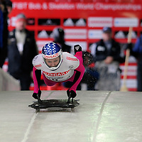 26 February 2007:  Noelle Pikus-Pace of the United States at the start of the first run at the Women's Skeleton World Championships competition on February 26 at the Olympic Sports Complex in Lake Placid, NY