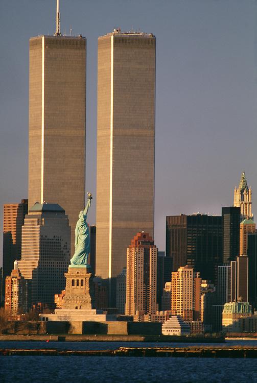 Statue of Liberty and World Trade Center, New York City, NY.