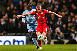 Manchester City's Bacary Sagna and Paul Konchesky of Leicester City  - Photo mandatory by-line: Matt McNulty/JMP - Mobile: 07966 386802 - 04/03/2015 - SPORT - football - Manchester - Etihad Stadium - Manchester City v Leicester City - Barclays Premier League
