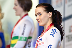 © Licensed to London News Pictures. 19/02/2011. Victoria Pendleton has to settle for Bronze in the Women's Sprint at the UCI Track Cycling World Cup in Manchester this evening (19/02/2011). Photo credit should read: Reuben Tabner/LNP