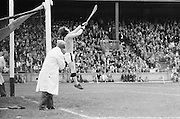 Kilkenny goalie jumps hit in order to save the slitor going over the bar during the All Ireland Minor Hurling Final, Tipperary v Kilkenny in Croke Park on the 5th September 1976.