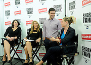 Shark Tank's Lori Greiner, second left, Staples' Alison Corcoran, left, and Bantam Bagels' founders Nick and Elyse Oleksak talk about innovation and how to launch a product at a small business panel hosted by Staples, Tuesday, April 7, 2015, in New York.  For the first time, Staples is selling Shark Tank products created by entrepreneurs featured on the show. (Photo by Diane Bondareff/Invision for Staples/AP Images)