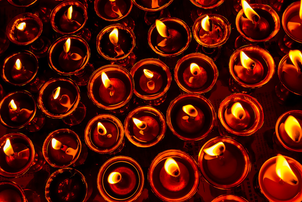 Yak butter lamps in the Chapel of Sakya, Palcho Monastery, Gyangze, Tibet (Xizang), China