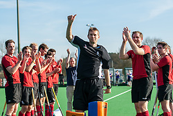 Chris Hibbert acknowledges the crowd following his last home game for Southgate after ten seasons in goal. Southgate v Old Loughtonians, Trent Park, London, UK on 15 March 2014. Photo: Simon Parker