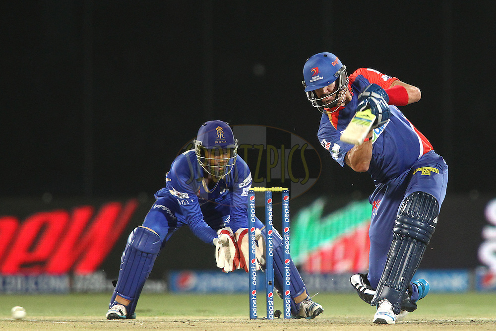 Kevin Pietersen captain of of the Delhi Daredevils drives a delivery during match 23 of the Pepsi Indian Premier League Season 2014 between the Delhi Daredevils and the Rajasthan Royals held at the Feroze Shah Kotla cricket stadium, Delhi, India on the 3rd May  2014<br /> <br /> Photo by Shaun Roy / IPL / SPORTZPICS<br /> <br /> <br /> <br /> Image use subject to terms and conditions which can be found here:  http://sportzpics.photoshelter.com/gallery/Pepsi-IPL-Image-terms-and-conditions/G00004VW1IVJ.gB0/C0000TScjhBM6ikg