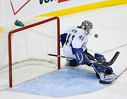 Nov 5, 2008; Newark, NJ, USA; Tampa Bay Lightning goalie Mike Smith (41) makes a save during the third period at the Prudential Center.