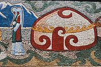 Kirghizistan, province de Osh, ville de OSh, representaion murale d'une yourte // Kyrgyzstan, Osh province, Osh city, Yurt mural mosaic