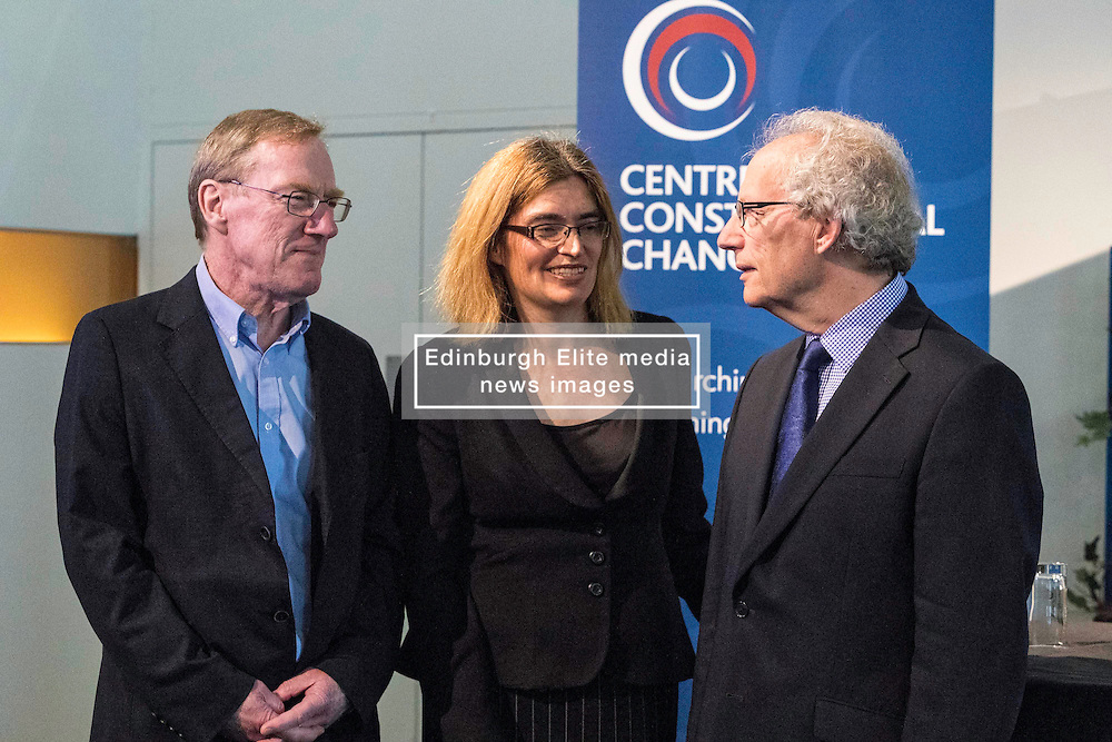 Former First Minister, Henry McLeish,  chairs a series of short talks and debates on the UK's vote to leave the European Union in an event organised by the Centre on Constitutional Change at Dynamic Earth in Edinburgh.<br /> <br /> Pictured: Professor Michael Keating (University of Aberdeen, Director of the Centre on Constitutional Change), Professor Nicola McEwen (University of Edinburgh & Associate Director of the Centre on Constitutional Change), Henry McLeish