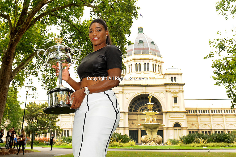 01.02.2015. Melbourne, Australia. Serena Williams at the Trophy Press Day following her win in the final of the Australian Open womens singles tournament.