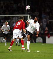 Photo: Mark Stephenson/Sportsbeat Images.<br /> Hereford United v Darlington. Coca Cola League 2. 03/11/2007.Hereford's Matt Green on the ball from Rob Purdie