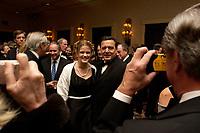 """20 NOV 2003, NEW YORK/USA:<br /> Gerhard Schroeder, SPD, Bundeskanzler, im Gespraech mit Spitzenvertretern der Wirtschaft, waehrend einem Empfang vor einer Festveranstaltung des American Institute for Contemporary German Studies anl. der Verleihung des """"Global Leadership Awards"""" Hotel Grand Hyatt at Grand Central<br /> IMAGE: 20031120-03-002<br /> KEYWORDS: Gerhard Schröder, U.S.A., Reise, Smoking<br /> Gespräch"""