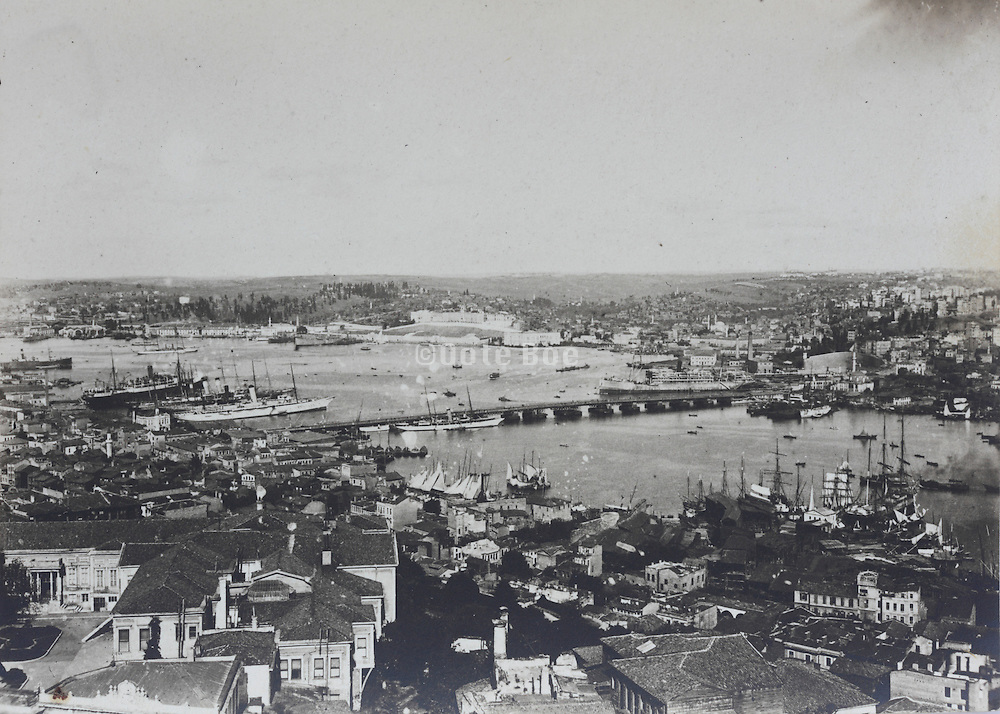 panoramic overview of Istanbul and river with bridge early 1900s