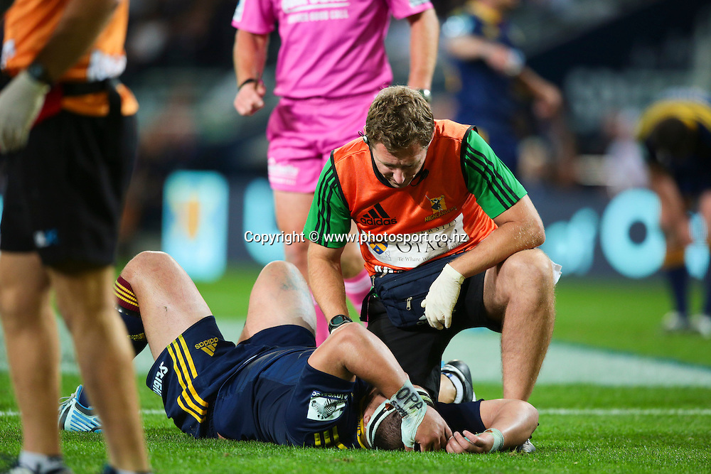 Highlander prop Kane Hames is knocked to the ground after a dangerous tip tackle from Force player Ben McCalman during the Round 5 Super Rugby match between Otago Highlanders and Western Force at Forsyth Barr Stadium, Dunedin. 15 March 2014. Photo: Derek Morrison/www.photosport.co.nz