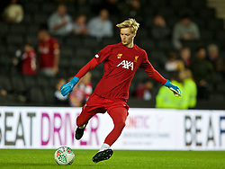 MILTON KEYNES, ENGLAND - Wednesday, September 25, 2019: Liverpool's goalkeeper Caoimhin Kelleher during the pre-match warm-up before the Football League Cup 3rd Round match between MK Dons FC and Liverpool FC at Stadium MK. (Pic by David Rawcliffe/Propaganda)