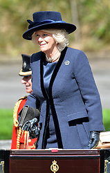Pictured is Camilla The Duchess of Cornwall departing the ceremony.<br /> <br /> The Queen and Duke of Edinburgh host a royal ceremonial welcome to The Irish President Michael D Higgins and First Lady Sabina Higgins in Windsor, Berkshire, UK<br /> <br /> Tuesday the 8th of April 2014. Picture by Ben Stevens / i-Images