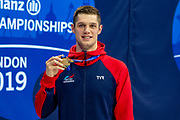 Reece Dunn of Great Britain with the Gold Medal won in the Men's 100 m Butterfly S14 during the World Para Swimming Championships 2019 Day 7 held at London Aquatics Centre, London, United Kingdom on 15 September 2019.