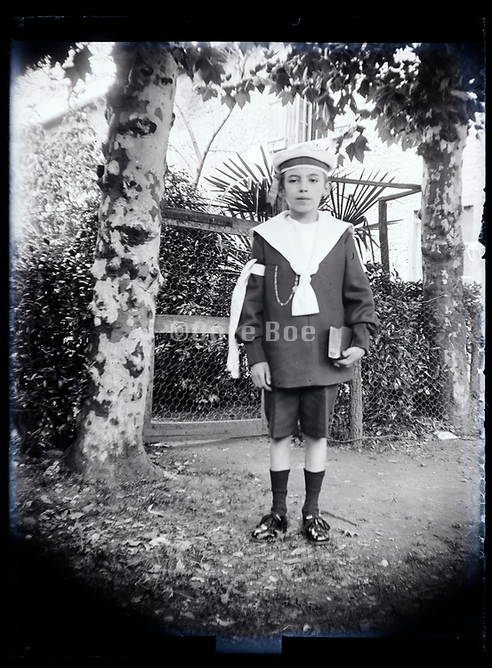 boy holy communion portrait France 1923