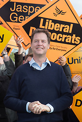 @Licensed to London News Pictures 03/05/2015. Staplehurst, Kent. Deputy Prime Minister Nick Clegg takes part in a party rally at Hush Heath Winery supporting prospective parliamentary cadidate for the Liberal Democrats Mr Jasper Gerrard in Maidstone and the Weald in Kent today 03/05/15. Photo credit: Manu Palomeque/LNP