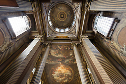 © Licensed to London News Pictures. 25/09/2016. LONDON, UK.  The main hall and dome ceiling at the Painted Hall. The 300 year old Painted Hall by James Thornhill at the Old Royal Naval College closes today for two years. Major restoration work to remove layers of dirt to the fine dining room will be undertaken in the main hall, ceiling and dome. The project has been awarded a £3.1m Heritage Lottery grant.  Photo credit: Vickie Flores/LNP