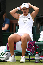 Ashleigh Barty in the round of 16 match against Alison Riske on day seven of the Wimbledon Championships at the All England Lawn Tennis and Croquet Club, London.