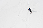 A skier/snowboarder descends on a run at Grand Hirafu resort in the Niseko ski region of Hokkaido, Japan on Feb. 9 2010. Winds from Siberia howl across the Sea of Japan, bringing in some 15 meters of powdery snow to Niseko each year.