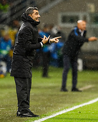 November 6, 2018 - Milan, Italy - Barcelona head coach Ernesto Valverde (L) gestures during the Group B match of the UEFA Champions League between FC Internazionale and FC Barcelona on November 6, 2018 at San Siro Stadium in Milan, Italy. (Credit Image: © Mike Kireev/NurPhoto via ZUMA Press)