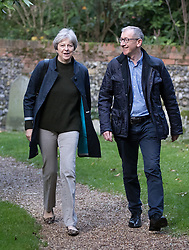 © Licensed to London News Pictures. 29/10/2017. Maidenhead, UK. Prime Minister Theresa May attends church in her constituency with her husband Philip. Photo credit: Peter Macdiarmid/LNP