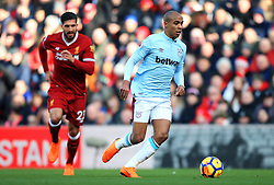 Joao Mario of West Ham United and Emre Can of Liverpool - Mandatory by-line: Matt McNulty/JMP - 24/02/2018 - FOOTBALL - Anfield - Liverpool, England - Liverpool v West Ham United - Premier League
