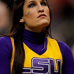 Jan 9, 2012; New Orleans, LA, USA; A LSU Tigers cheerleader looks on during the forth quarter of the 2012 BCS National Championship game against the Alabama Crimson Tide at the Mercedes-Benz Superdome.  Mandatory Credit: Derick E. Hingle-US PRESSWIRE