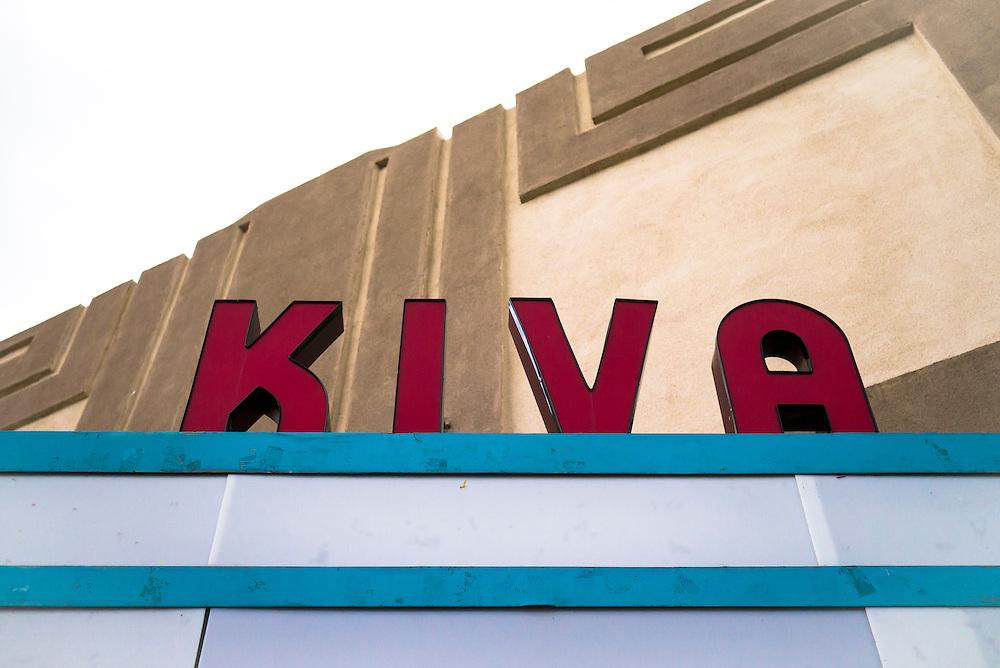 Marquee of the Historic Kiva Theater, Las Vegas, New Mexico.