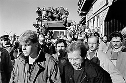 Krkonose, 17 March 1990 - Spindlerova chata.Vaclav Havel leaving an unofficial meeting with Lech Walesa at the Czech-Polish border.