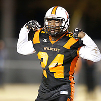 Thomas Wells | BUY at PHOTOS.DJOURNAL.COM<br /> Calhoun City's Atarius Moore begins to celebrate after blocking a Baldwyn punt which set up another Wildcat touchdown in the second quarter of their North Championship game on Friday.