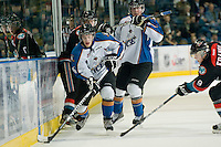 KELOWNA, CANADA, NOVEMBER 25: Levi Cable #26 of the Kootenay Ice skates with the puck as the Kootenay Ice visit the Kelowna Rockets  on November 25, 2011 at Prospera Place in Kelowna, British Columbia, Canada (Photo by Marissa Baecker/Shoot the Breeze) *** Local Caption *** Levi Cable;