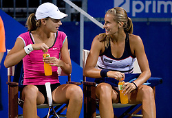 Petra Martic of Croatia and Polona Hercog of Slovenia during doubles match at 1st Round of Banka Koper Slovenia Open WTA Tour tennis tournament, on July 20 2009, in Portoroz / Portorose, Slovenia. (Photo by Vid Ponikvar / Sportida)