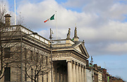 Tricolour national flag flying over General Post Office building, Dublin, Ireland, Irish Republic