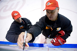 Dejan Varl and coach Ildar Rahmatullin at practice after HK Acroni Jesenice Team roaster for 2009-2010 season,  on September 03, 2009, in Arena Podmezaklja, Jesenice, Slovenia.  (Photo by Vid Ponikvar / Sportida)