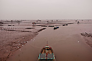 Muddy shore along the Red River estuary, Giao Thuy District, Nam Dinh Province, Vietnam, Southeast Asia